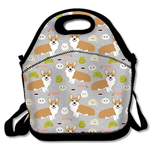 shunshunfeng Steamed Stuffed Bun Corgi Lunch Tote Bags Insulated Waterproof Lunch Box Food Picnic Bags for Men Women