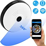 GreaSmart WiFi IP Camera Wireless 360 1080P Outdoor Indoor Baby Monitor Dome Camera Panoramic with Audio Motion Detection Alarm Monitor at Night for Home Security Pet Nanny Support TF Card Android iOS