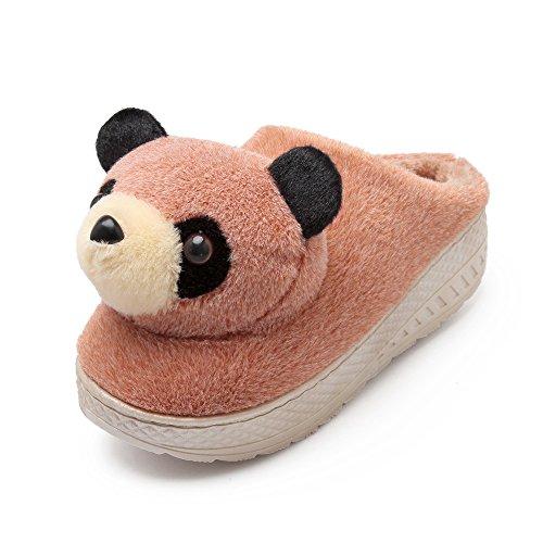 Y-Hui en el invierno de algodón zapatillas zapatillas de estar por casa con zapatillas de suela gruesa Home Furnishing Semi femenino interiores,40-41 (Fit 38, 39 pies),Albaricoque