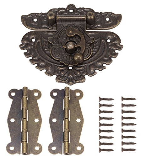 84MM Antique Bronze Embossing Latch Hasps with 50MM Brass Hinges and Screws for Wooden Jewelry Box Cabinet Decorative