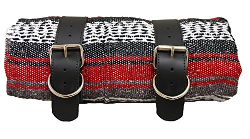 La Rosa Roll-up Blanket with Black Leather Belts- Red Serape (Leather Jackets Knucklehead)