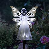 Exhart Solar Angel Garden Stake, Acrylic, Wings Light Up with 12 LEDs, Clear/White, 4 inches Wide and 34 inches Tall