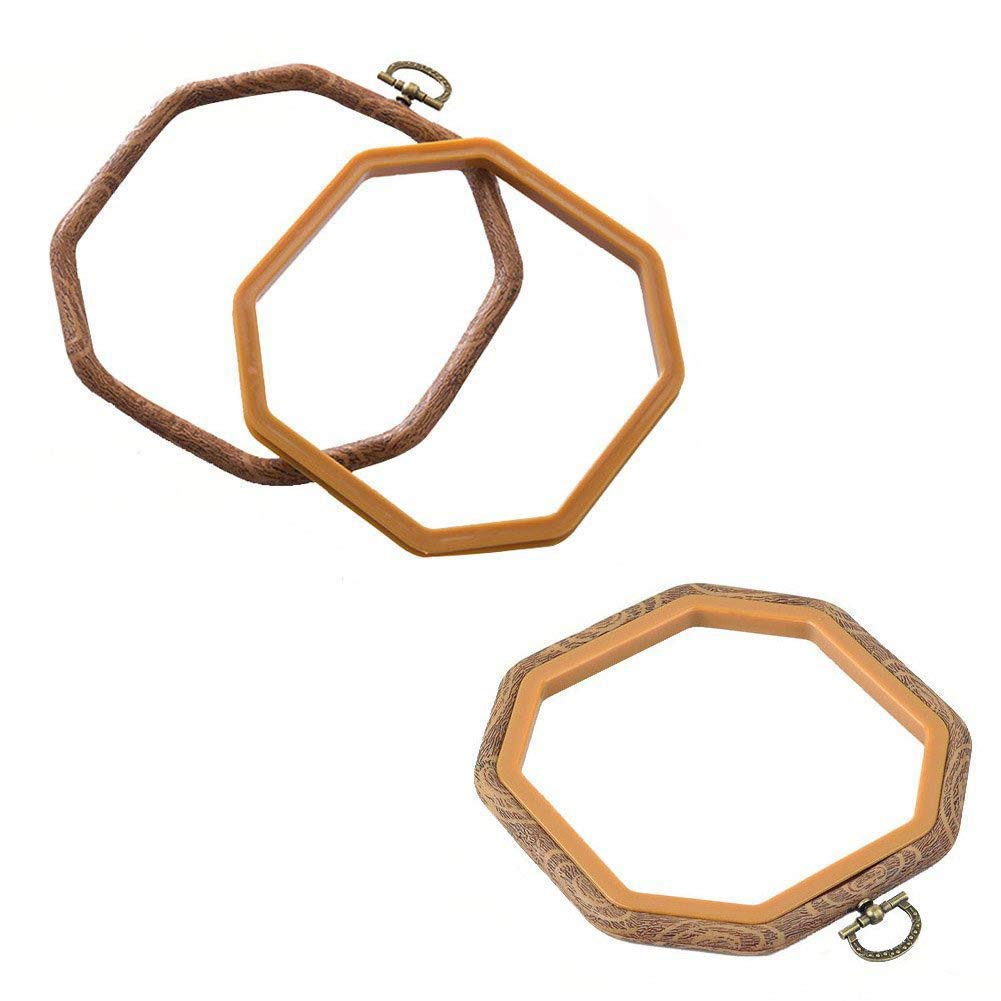 2 PCS Octagon Embroidery Hoops Cross Stitch Hoop Bulk Imitated Wood Embroidery Circle Set For Art Craft Frame Craft Photo Frame HoLeis