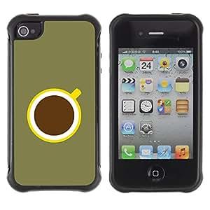 "Pulsar iFace Series Tpu silicona Carcasa Funda Case para Apple iPhone 4 / iPhone 4S , Café minimalista Oliva Verde Amarillo"""