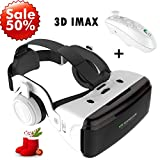 3D VR Goggle Virtual Reality Glass w/Headphone & Remote, 360° VR Viewer Set Fit for iPhone XR XS X 8 7 6 Plus Samsung Galaxy S9 S8 S7 + J3 LG G6 Android iOS Phone for 3D Movie Game, White VR Headset