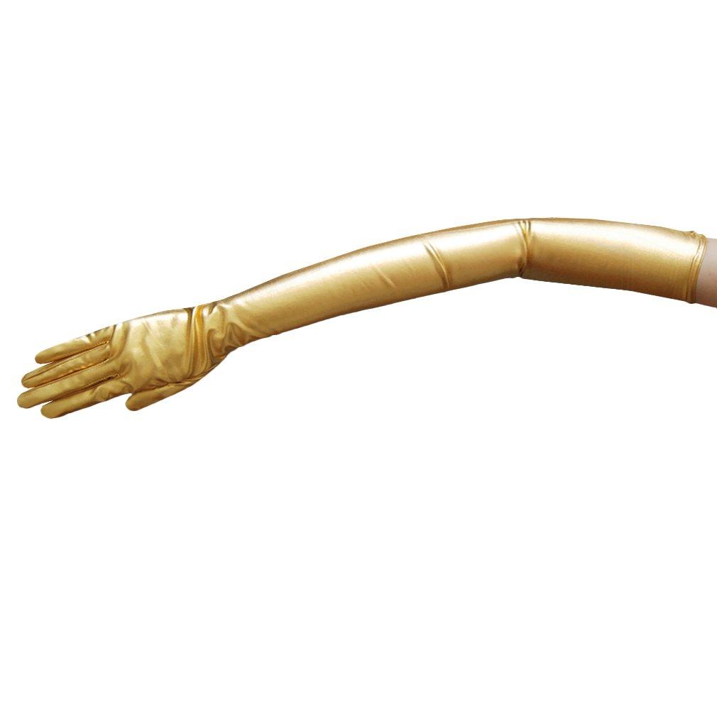 ZaZa Bridal Shiny Stretch Metallic Gloves Opera Length (16BL)-Gold