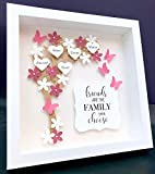 Personalized Friends or Family Tree with Flowers, Hearts, and Butterfies 3D Paper Art Shadowbox Frame