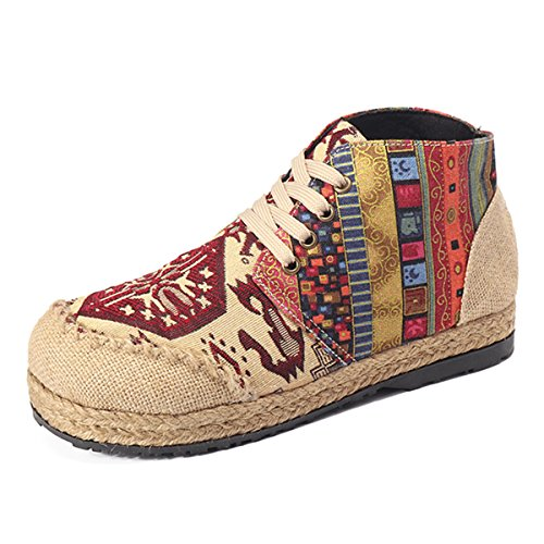 Ankle Comfortable Flat Women's Boots Pattern Boots Vintage Colorful gracosy Casual Shoes Canvas Red Retro wtqXEIn1x