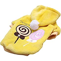 One Tail Four Paws Lollipop Ultra Soft Hoodie, Large, Yellow