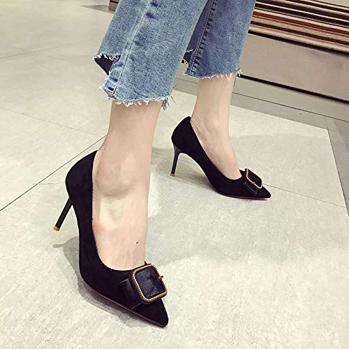 Autumn Women'S Fine Girl heels Pointed With Buckle Female Square Suede Shoes Heel Yukun Single Black High Fresh Wild High Small F0F1qwE