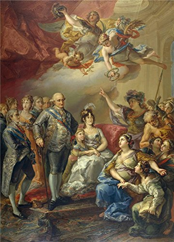High Quality Polyster Canvas ,the Reproductions Art Decorative Prints On Canvas Of Oil Painting 'Lopez Portana Vicente Carlos IV Y Su Familia Homenajeados Por La Universidad De Valencia 1802 ', 20 X 28 Inch / 51 X 71 Cm Is Best For Living Room Artwork And Home Decoration And Gifts (Valencia Kit Shower)