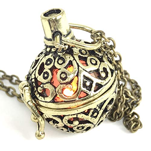 UMBRELLALABORATORY Steampunk FIRE necklace - pendant charm locket jewelry- GREAT GIFT-bronze orange ()
