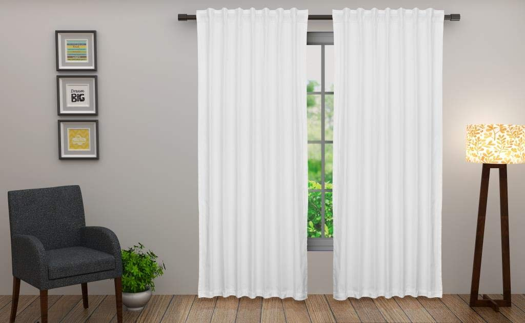 Cotton Craft - Set of 2-100% Cotton Duck Reverse Tab Top Curtain Panel Set - 50x96 - White - Classic Elegance for a Clean Crisp Look - Each Panel is 50 in Wide by Cotton Craft