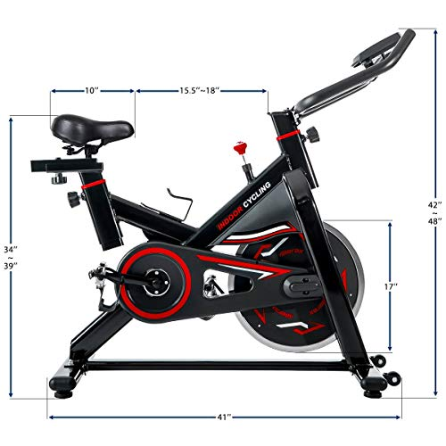 Merax Deluxe Indoor Cycling Bike Cycle Trainer Exercise Bicycle (Black with Red) by Merax (Image #6)