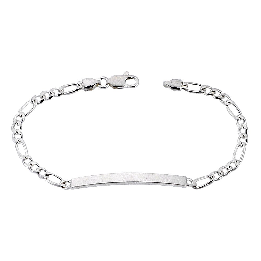 Sterling Silver ID Bracelet Figaro Link Dainty 3/16 inch wide Nickel Free Italy 8 inch