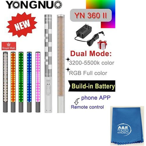 YONGNUO YN360II 3200K-5500K Changeable RBG Colorful Handheld LED Video Light With Case & A&R cleaning cloth by Yongnuo