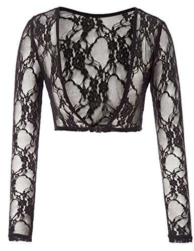 Kate Kasin Women's Long Sleeve See-Through Reversible Cropped Length Lace Tops Shrug(2XL,0899#Black/lace)