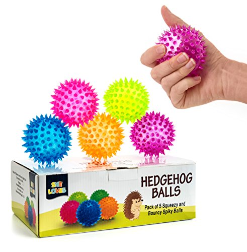 Squishy Stress Relief Sensory Toys Fidget Spiky Ball 5 - Pcs Set Squeezy & Bouncy Antistress Toy Balls for Men, Women, Adults, Teens & Children Ideal for People with OCD, ADHD, ADD & Autism