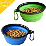 Cheap STARUBY Collapsible Dog Bowl, 2 Pack Foldable Pet Travel Bowl, for Outdoor Camping Pet Food Water Bowl