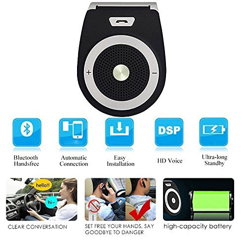 Wireless Car Speaker Bluetooth Receiver Sun Visor Speakerphone Car Stereo Player Hands-free Car Kit for iPhone X/ iPhone 8/Plus Samsung Support by KLJ (Image #4)