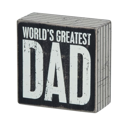 Primitives by Kathy Mini Box Sign, 4 x 4-Inch, World's Greatest Dad (Birthday Present Dad)