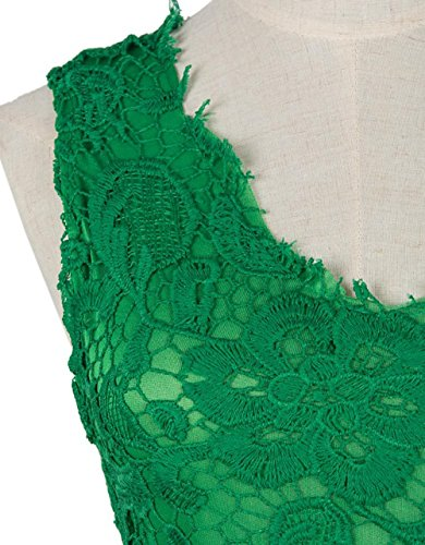 Aishang Femmes Belles Fleurs Sans Manches Profonde Robes De Demoiselle D'honneur En Dentelle À Carreaux Col V Mini-vert Robe
