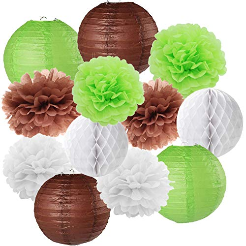 12PCS Woodland Baby Shower Birthday Party Kit Tissue Paper Pompoms Hanging Lantern Honeycomb Ball Forest Themed Boy Birthday Nursery Decoration -