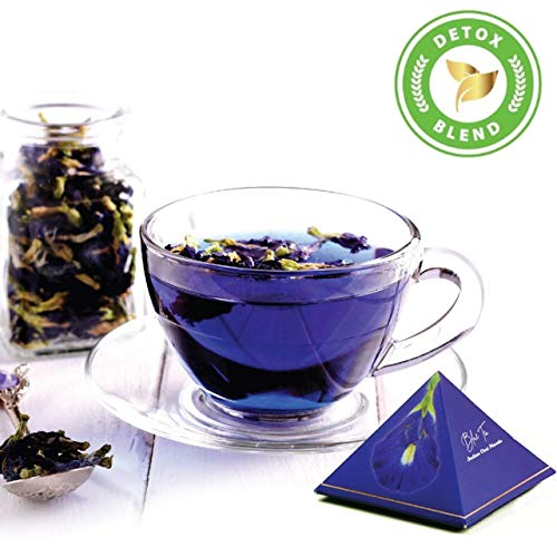 Blue Tea Indian Chai Masala | Caffeine Free Herbal Tea For DETOX | Butterfly Pea Flower, Cinnamon, Cardamom, Clove, Ginger | 12 Hand crafted Pyramid Teas ( 24 cups)