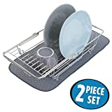 mDesign Over-the-Sink Dish Drainer Rack and Mini Drying Mat for...