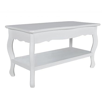 tavolino salotto tavolino quadrato con 2 ripiani bianco: amazon.it ... - Soggiorno Quadrato 2