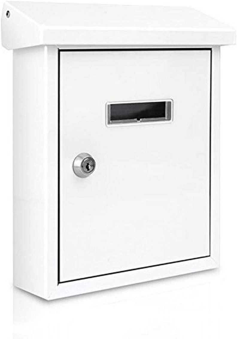 SereneLife Wall Mount Lockable Mailbox - Modern Outdoor Galvanized Metal Key Large Capacity - Commercial Rural Home Decorative & Office Business Parcel Box Packages Drop Slot Secure Lock