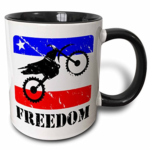3D Rose 180540_4 Distressed Dirt Bike Graphic, Freedom Text, red, White, Blue Banner Two Tone Ceramic Mug, 11 oz, Black (Dirt Graphic)