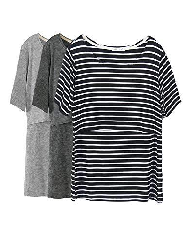 (Smallshow 3 Pcs Maternity Nursing T-Shirt Nursing Tops Black Stripe-Dim Grey-Grey X-Large)