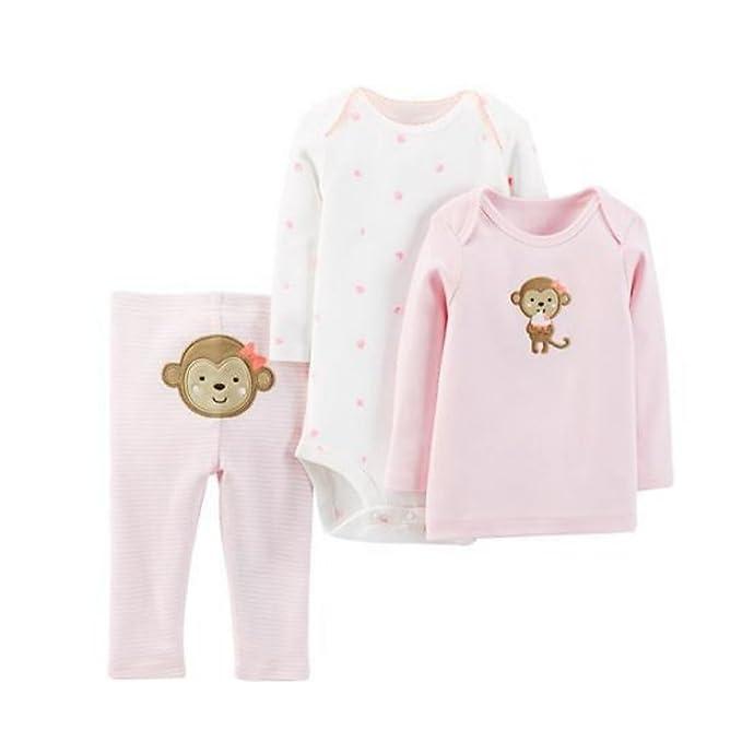 9e462acda Amazon.com  Carter s Child of Mine Infant Girls Pink Monkey 3 Piece ...