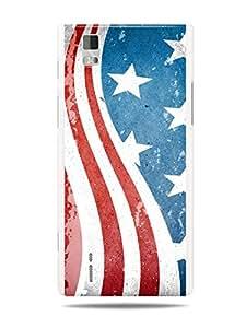 "GRÜV Premium Case - ""Stars and Stripes Vintage Art Deco"" Design - Best Quality Designer Print on White Hard Cover - for Huawei Ascend P2"