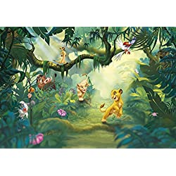 "Wall Mural, Photo Wallpaper children LION KING JUNGLE 12'1""x8'4"", 8 panels, jungle animals, Kids"