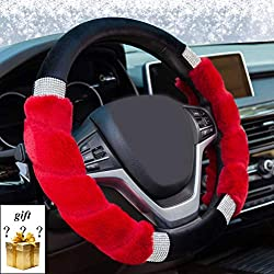 Bling Crystal Fluffy Steering Wheel Cover