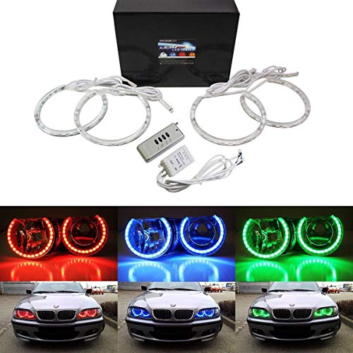 iJDMTOY v2. RGB Multi-Color 96-LED Angel Eye Halo Rings w/Lens Covers and Wireless Remote Control For BMW E36 E46 E38 E39 3 5 7 ()