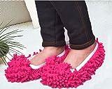 Generic Multifunction Mop Shoe Cover Dusting Floor Cleaning Slipper Housekeeper-Red(1 Pair)
