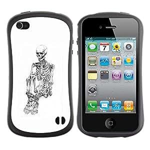 Suave TPU Caso Carcasa de Caucho Funda para Apple Iphone 4 / 4S / White Skull Skeleton Depressed Black / STRONG