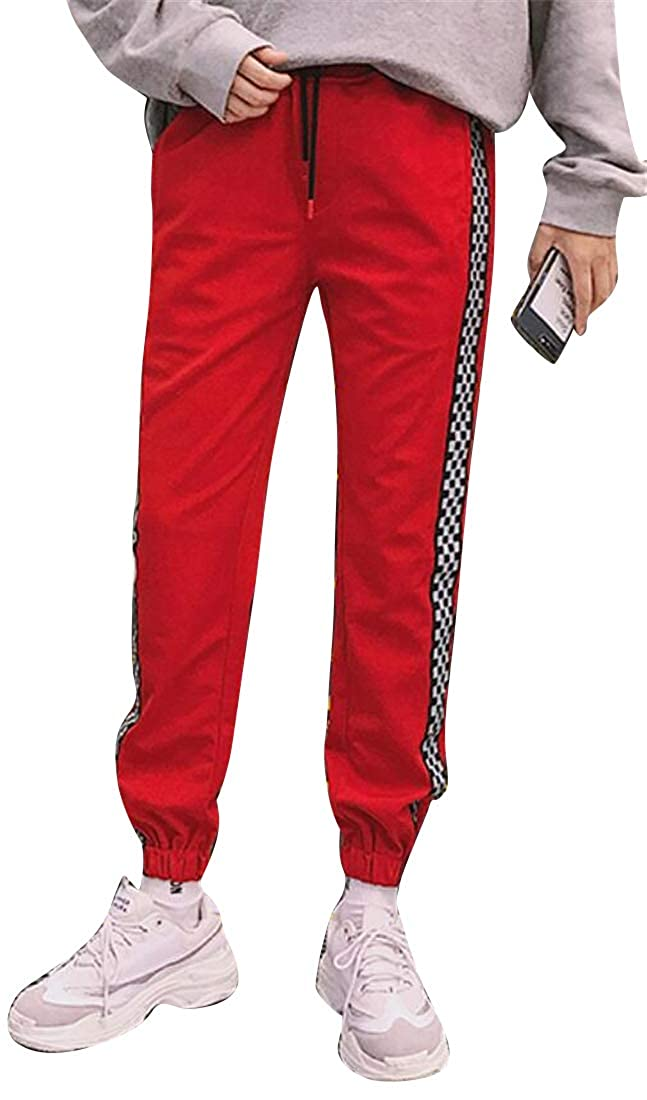 Fubotevic Mens Embroidery Loose Couples Dress Casual Active Drawstring Elastic Waist Jogger Pants Trousers