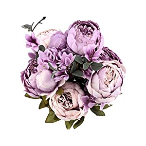 M-choice Vintage Artificial Peony Silk Flowers Bouquet Home Wedding Decoration,Pack of 1 58