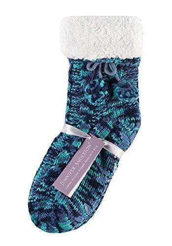 Jennifer Anderton - calcetines mujer zapatos de la casa abs antideslizante prevención de caídas en 6 colores (booties) Azul