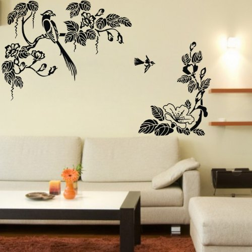 Birds Wall Stickers Decals Black Vinyl Removable Traditional Chinese Ink Painting Large Pattern Design Home Mural Decor Art For Living Room Dining