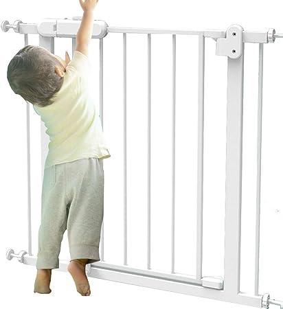 ZAQI Barrera Seguridad Puertas para bebé Extra Anchas para escaleras - Puertas para Mascotas montadas a presión, pasantes, Metal Blanco, 76-173 cm de Ancho Barandilla Resistente a los Golpes: Amazon.es: Hogar