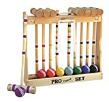 8 Player Croquet Set Amish-made in Wood Rack with 24'' Handles
