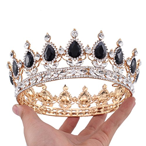 [Ulike2 King/queen Crown Red Ruby Stone Sapphire Tiaras Gold/silver Plated Hair Jewelry (6#)] (Crowns For Queens)