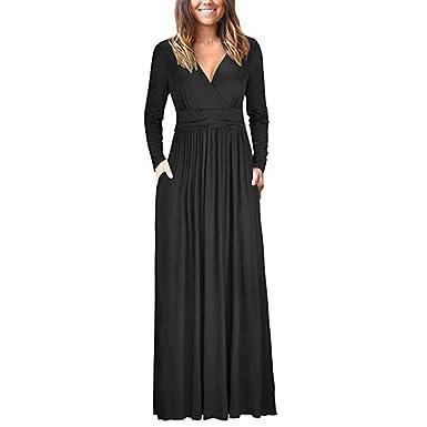 9e24a7ce8e1c AUWU Women Girl V-Neck Ruffled Dress Side Pocket Long Sleeve Maxi Evening  Dress