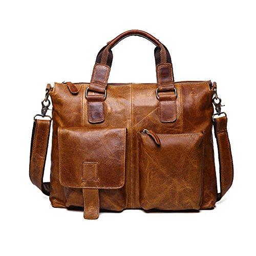 SEALINF Men's Retro Leather Handbag/Shoulder Bag Business Laptop Briefcase (light brown) (Light Brown Leather Briefcase)