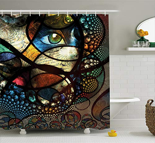 Ambesonne Modern Art Home Decor Shower Curtain by, Psychedelic Oriental Ethnic Motif with Fractal Rounds Forms and Woman Eyes, Fabric Bathroom Decor Set with Hooks, 84 Inches Extra Long, Multi